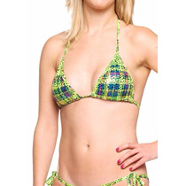 Traje De Baño Para Damas Bikini Strapless Verde Talla S