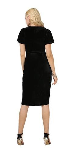 mujer vestido fiesta terciopelo cuello v slim manga corta
