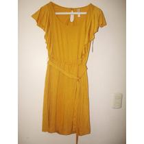 Vestido Casual Color Mostaza, Importado. Talla Xs
