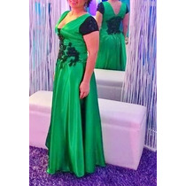Vestido Largo, Verde Con Negro, Elegante