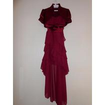 Vestido De Fiesta Color Vino Tinto Talla M