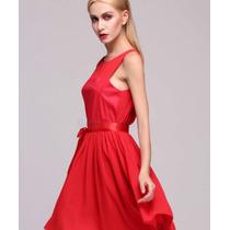 Vestido Corto Rojo Chiffon Dama Talla Xl Asiatica