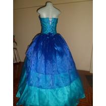 Vestido De 15 Años Azul Rey Y Turquesa Con Piedreria