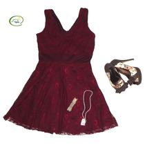 Vestido De Encaje Unicolor Tipo Casual