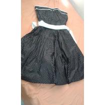 Vestido De Fiesta , Semiformal, Negro Y Lunares.