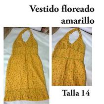 Vestido Amarillo De Floriado Talla 14 Usadoi Excelente Estad