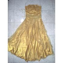 Vestido De Quince Años Color Dorado Tipo Corset Talla M