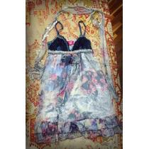 Vestido Estampado Chiffon Y Jean Talla M