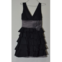 Vestido De Fiesta Noche Mora Mora Negro Con Gris Talla Unica
