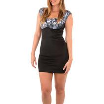 Vestido Corto Negro Estrech Casual Con Detalle Blonda Naiboa
