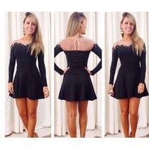 Vestido Negro Con Encaje Talla L Asiatica