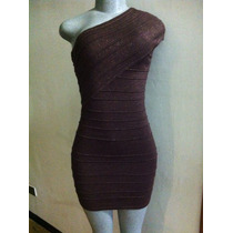 Vestido Tipo Cóctel Tela Brillante Color Marrón
