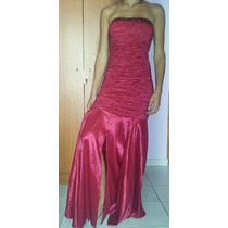 Vestido De Fiesta, Modelo Largo, Color Vinotinto, Nuevo