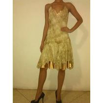 Vestido Corto Tipo Coctel Color Dorado