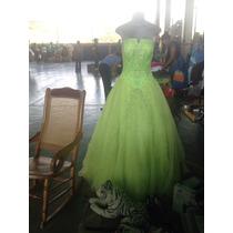 Vestido De 15 Años, Estilo Princesa, Color Verde Manzana