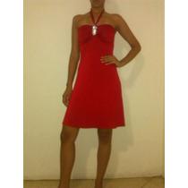 Vestido Corto Tipo Coctel Color Rojo Con Broche Plateado