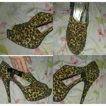 Bellos Y Comodos Zapatos Altos Animal Print.(usados)