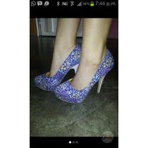 Zapatos Altos Con Estampado De Flores, Color Azul, #36