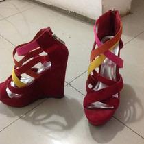 Zapatos De Plataforma Rojos Cómodos Talla 36 Tacones