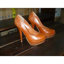 Zapatos De Tacon Alto Marca Atrevida # 36 Color Caramelo