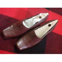 Zapatos Clarks De Dama De Cuero Marrón Oscuro Talla 39