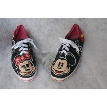 Zapatos Pintados A Mano Mickey & Minnie.