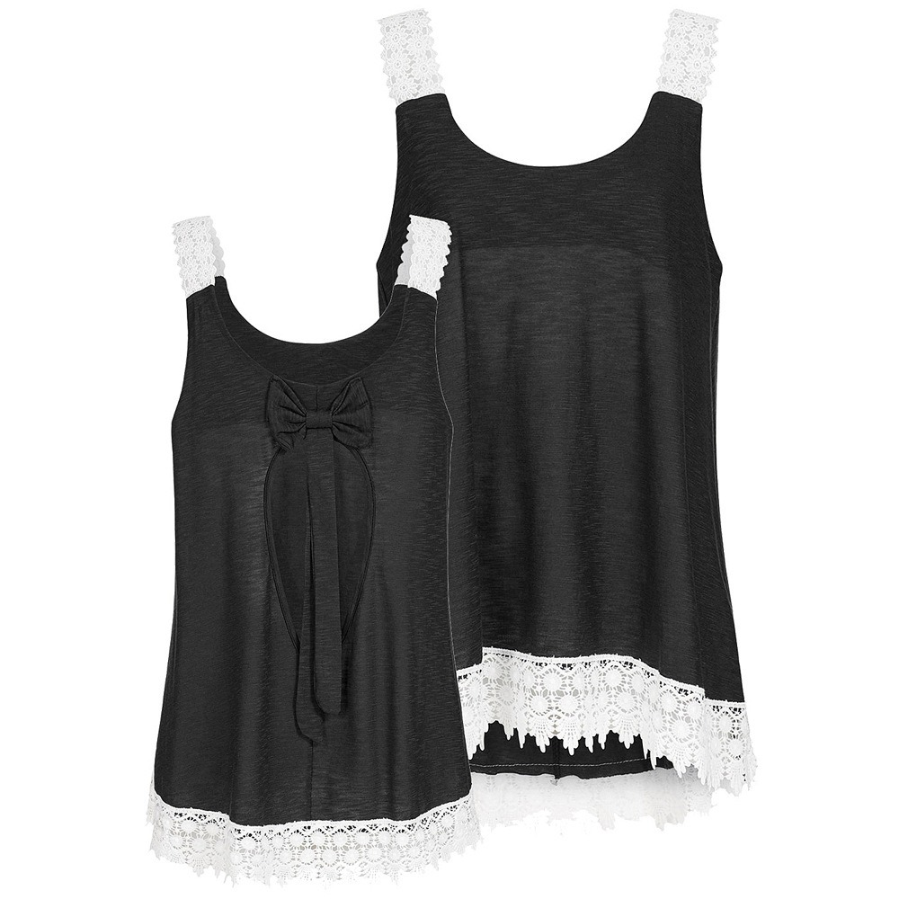 Mujeres Chaleco Casual Encaje Tank Tops Sin Mangas Tops Blus ... dc2247493d136