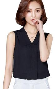 5adeef674 Mujeres Elegante Blusa Sólido Sin Mangas V Con Cuello Que B