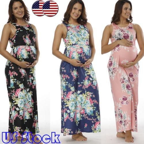051b743d4 Mujeres Embarazadas Sexy Vestido Largo Maxi Vestido De -   240.990 ...