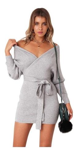 mujeres invierno vendimia de punto vestido elegante largo ma