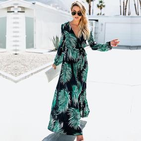 50153f6d374e Mujeres Largo Manga Vestido Verde Tropical Playa Vendimia Ma