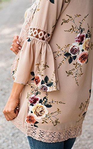 mujeres mangas 3/4 superior impresión floral kimono cardi