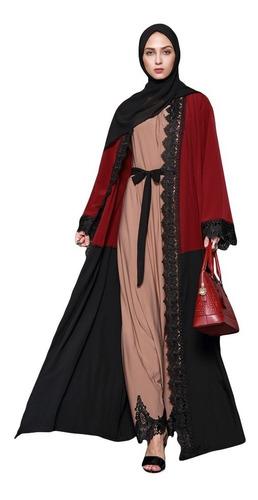 mujeres musulmán maxi vestido contrastar encaje largo manga
