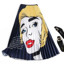 91167c414 Mujeres Nuevo Impresión Alto Cintura Falda Verano Midi Fald