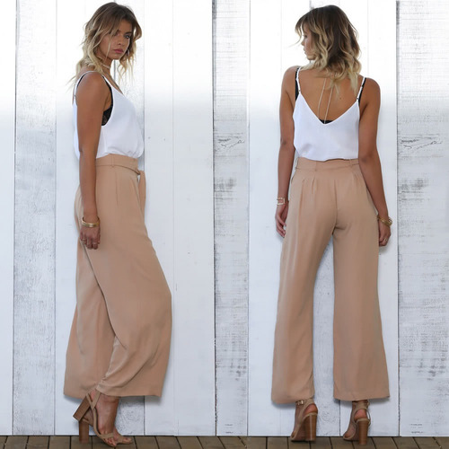 mujeres pantalones anchos pantalones de camelo eu