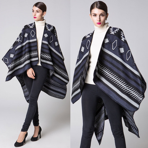 mujeres poncho bufanda rebeca suéter impresión geométrico
