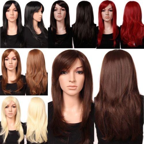 mujeres premium pelo peluca natural larga recta ondulada