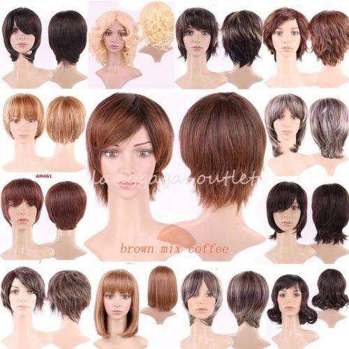 mujeres recto rizado natural peluca de pelo corto pixie