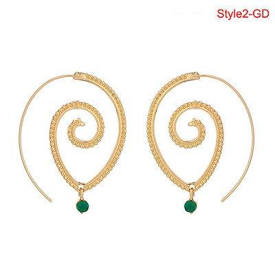 Retro Mujeres círculos Redondo espirales tribal pendiente Hoop Ear Stud Piercing jewelryh