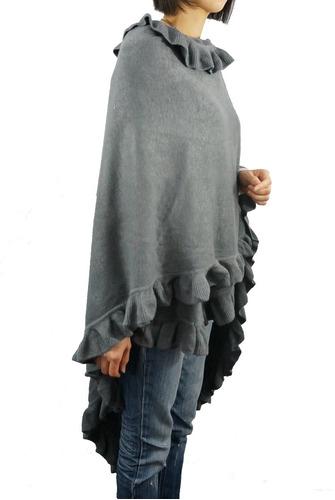 mujeres 's de lujo ruffle borde de punto poncho bufanda