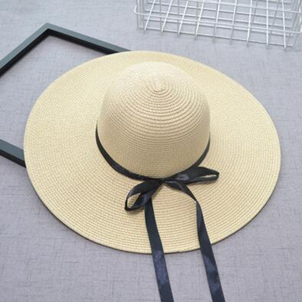 9e104d886981f mujeres  s de paja sombrero plegable arco -knot sol sombrero. Cargando zoom.