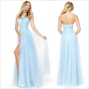 6524cc72a Venta De Vestidos De Noche - Vestidos de Mujer Largo Azul acero en ...