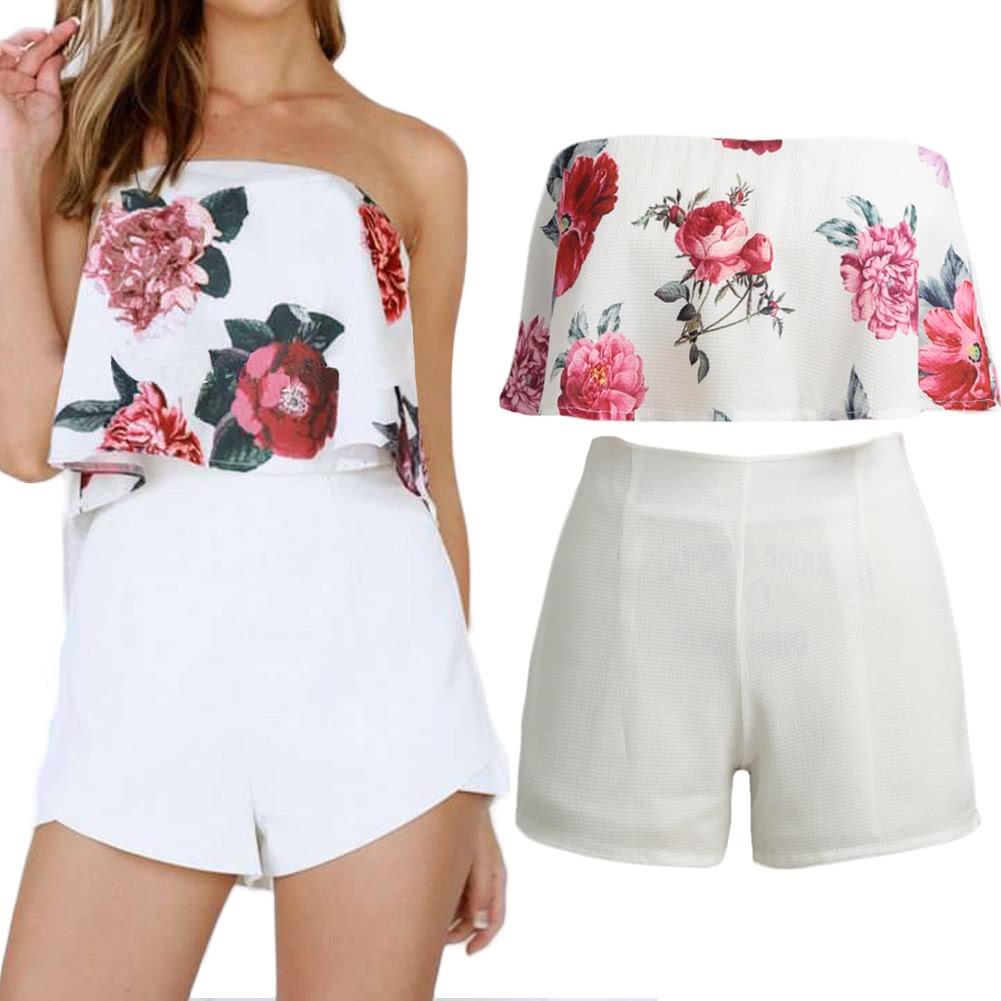 493c16ca2cd Mujeres  s Superior Mujeres   S Pantalones Cortos Moda Impre ...