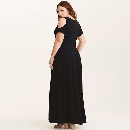 mujeres sexy más tamaño maxi vestido frío hombro v cuello