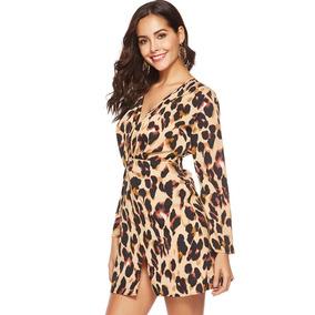Sexy Vestido Gasa D Cuello Leopardo Del Impresión Mujeres V stQhCxrd
