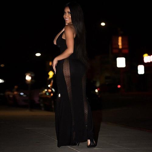 mujeres sexy vestido maxi puro malla profundo v sin mangas d