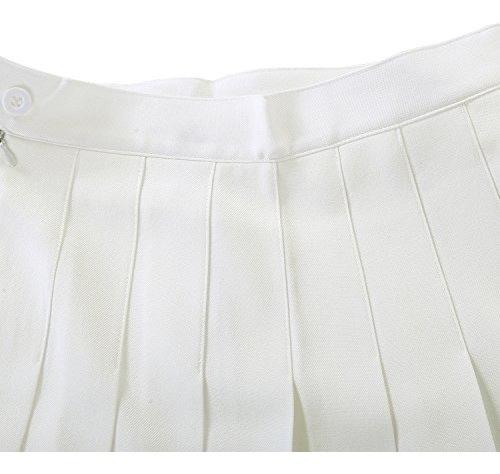 mujeres short mini plisado patinaje blanco rodilla faldas xl