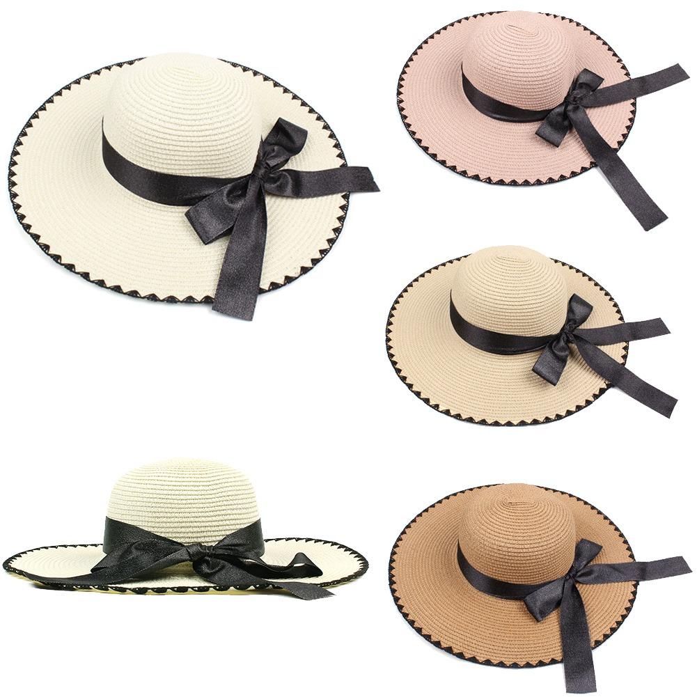 561c89fe38169 mujeres sol paja sombrero contrastar bowknot ancho grande bo. Cargando zoom.