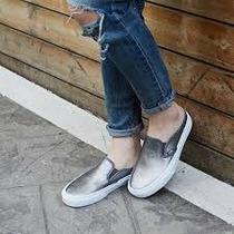 Zapatillas De Mujer Vans Dc Slipon De Cuero
