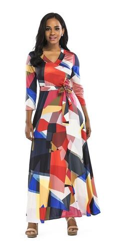 mujeres verano largo maxi vestido color bloque 3/4